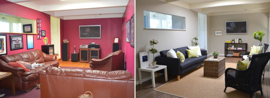 Home Staging Before & After Den