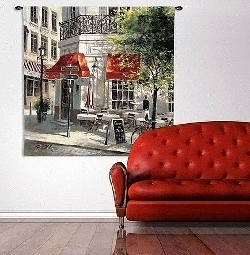 Wall Tapestries | Paris Corner Cafe by Brent Heighton