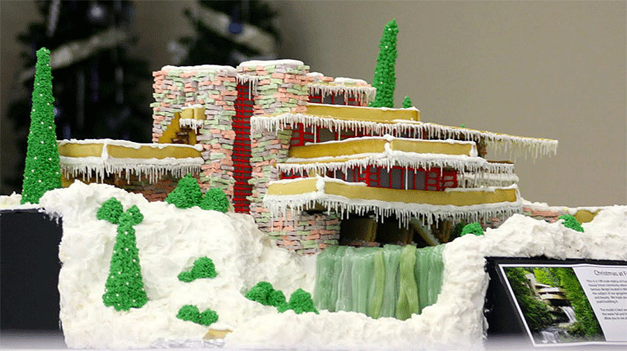 Frank Lloyd Wright Fallingwater Gingerbread House