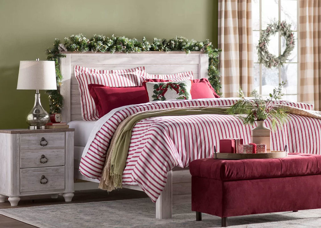 Candy Cane Red & White Striped Christmas Bedding Set