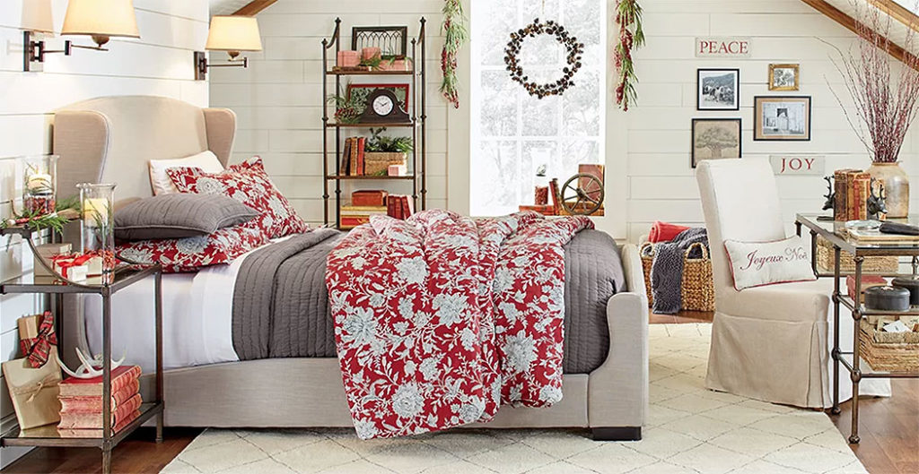 Country Cottage Christmas Bedroom Decor