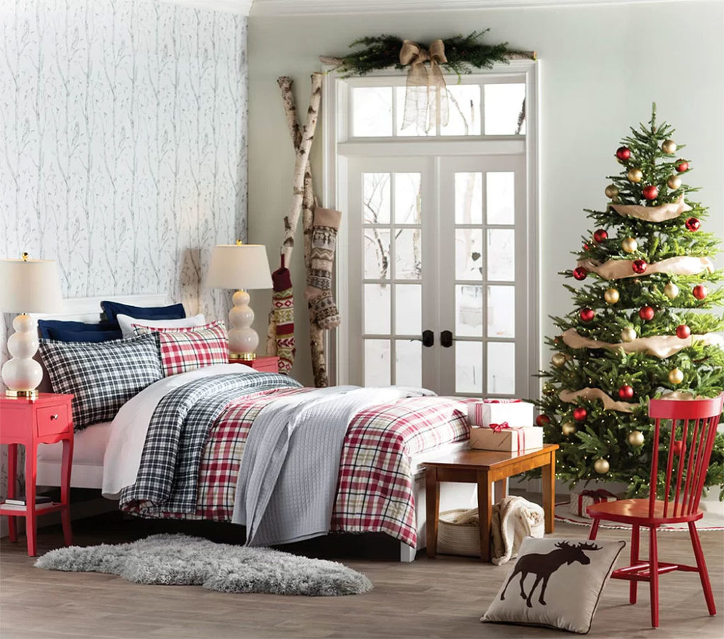 Country Plaid Christmas Bedroom Decor