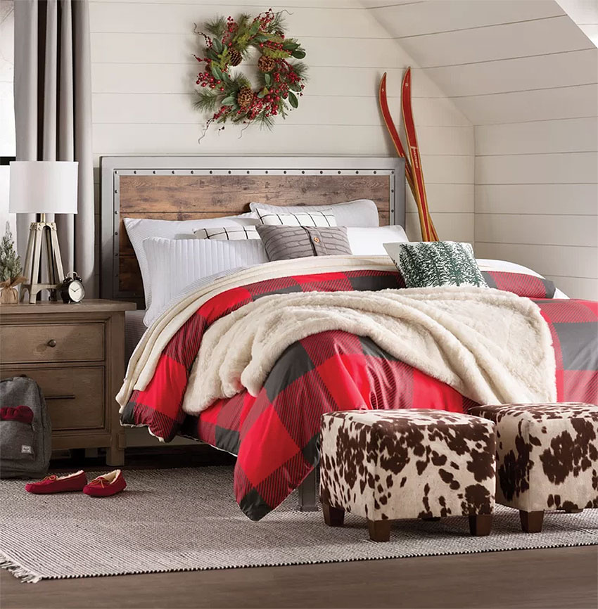 Cozy Rustic Plaid Christmas Bedroom Decor