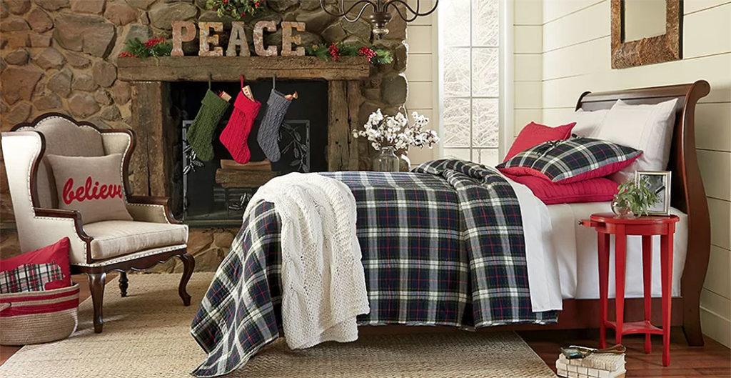 Peaceful Plaid Christmas Bedroom