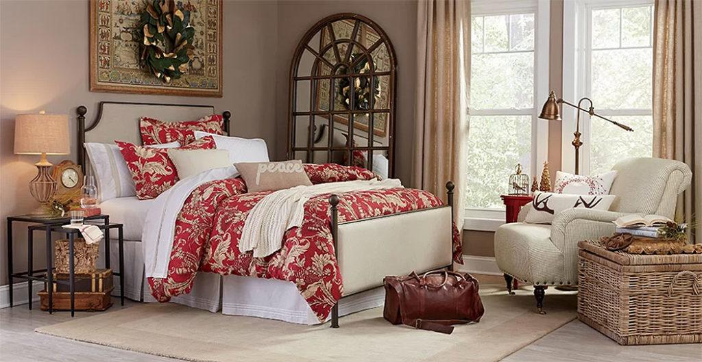 Red Brocade Christmas Bedroom
