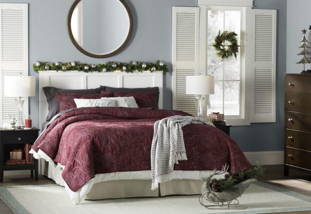 Simply Elegant Burgundy Christmas Bedroom