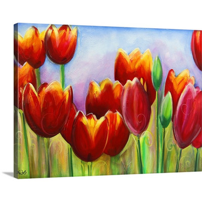 Tulips in bloom by Eric Waugh Painting Print on Canvas   Canvas On Demand