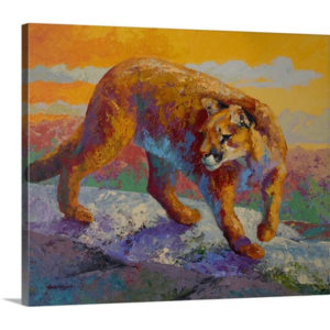 On The Ridge Cougar by Marion Rose Art Print on Canvas