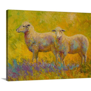 Warm Glow Sheep Pair by Marion Rose Art Print on Canvas