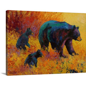 Double Trouble Black Bear by Marion Rose Art Print on Canvas