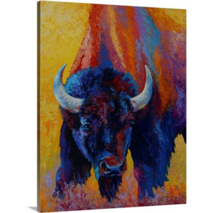 Back Off Bison by Marion Rose Art Print on Canvas