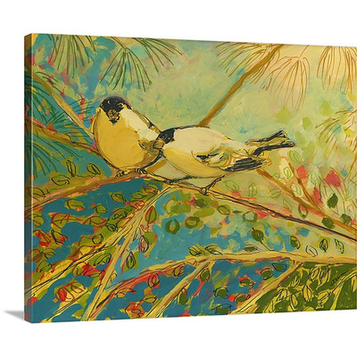 Two goldfinch found by Jennifer Lommers Art Print on Canvas