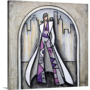Purple pant suit in the city by Eric Waugh Painting Print on Canvas