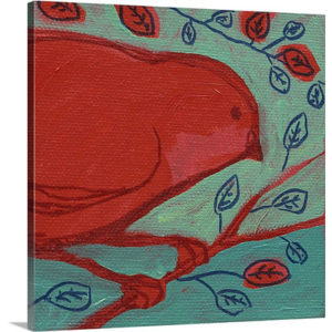 Red Bird by Jennifer Lommers Painting Print on Canvas