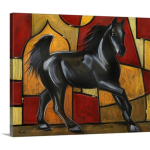 Black Stallion by Eric Waugh Painting Print on Canvas