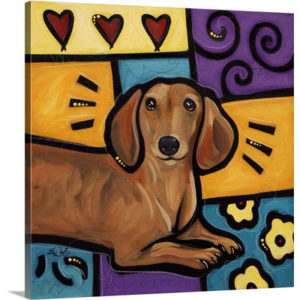Dachshund Pop Art by Eric Waugh Painting Print on Canvas
