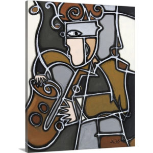 Funky sax by Eric Waugh Painting Print on Canvas