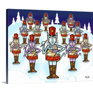 The Twelve Days of Art - Twelve Drummers Drumming by Eric Waugh Painting Print on Canvas