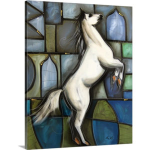 White Stallion Horse by Eric Waugh Art Print on Canvas