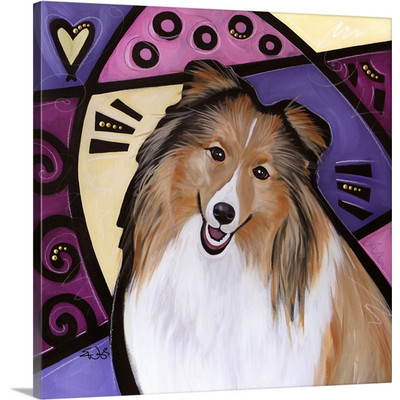 Shetland Sheepdog Pop Art by Eric Waugh Painting Print on Canvas