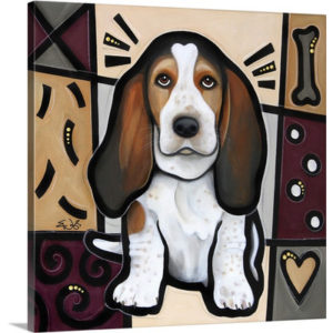 Basset Hound Pop Art by Eric Waugh Art Print on Canvas