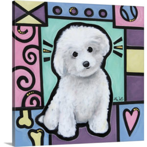 Bichon Frise Pop Art by Eric Waugh Painting Print on Canvas
