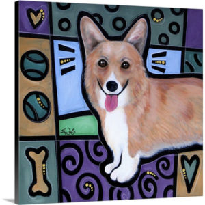 Pembroke Welsh Corgi Pop Art by Eric Waugh Painting Print on Canvas