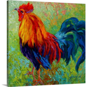 Band of Gold Rooster by Marion Rose Art Print on Canvas