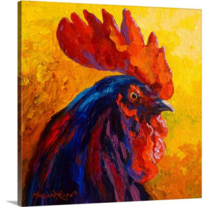Cocky Rooster by Marion Rose Painting on Canvas