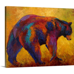 Daily Rounds Black Bear by Marion Rose Painting on Canvas