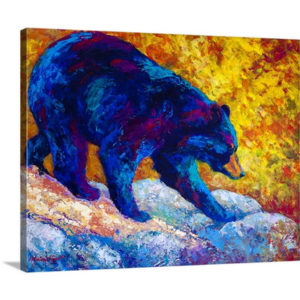Tentative Step Black Bear by Marion Rose Art Print on Canvas