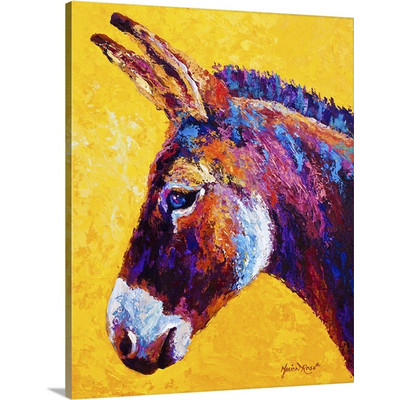 Donkey Portrait by Marion Rose Art Print on Canvas