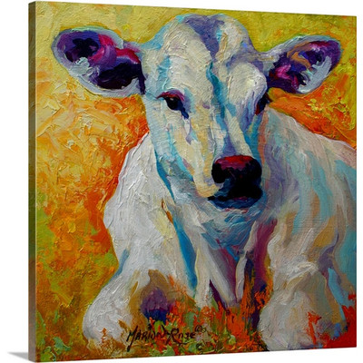 White Calf by Marion Rose Art Print on Canvas