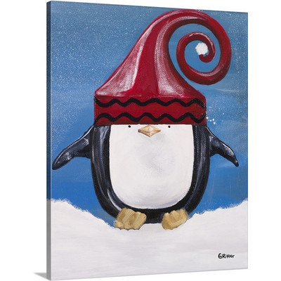 Penguin Christmas Art | 'Paddison' by Gina Ritter | Painting Print on Wrapped Canvas