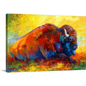 Spirit Brother Bison by Marion Rose Art Print on Canvas