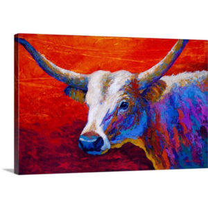 Sunset Ablaze Longhorn by Marion Rose Art Print on Canvas