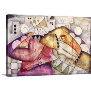 Ancient City Jazz II Trumpet Congo by Eric Waugh Painting Print on Canvas