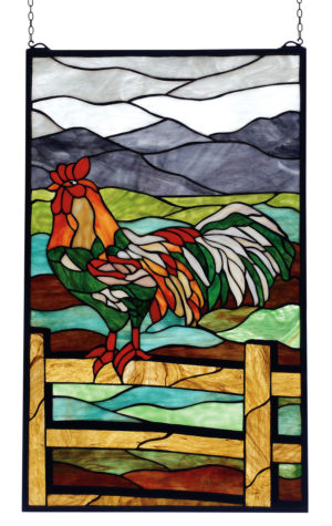 Sunrise Perch Rooster | Stained Glass Window Hanging