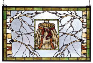 "Adirondack Pack Basket | Stained Glass Window | 28"" W X 18"" H"