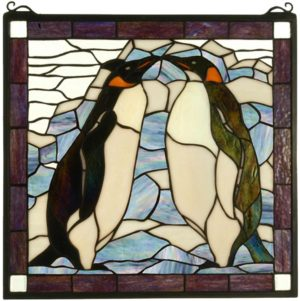 "Penguin | Art Glass Window Panel | 19"" X 19.5"""