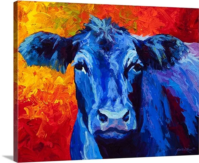 Blue Cow by Marion Rose Painting Print on Canvas