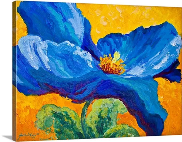 Blue Poppy by Marion Rose Art Print on Canvas