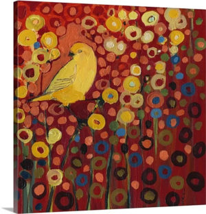 Canary in Red by Jennifer Lommers Art Print on Canvas