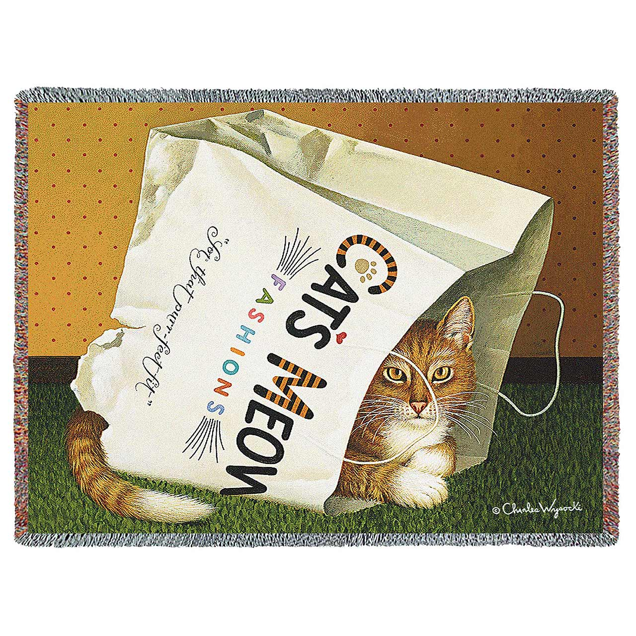 Cat's In The Bag by Charles Wysocki | Throw Blanket | 70 x 54