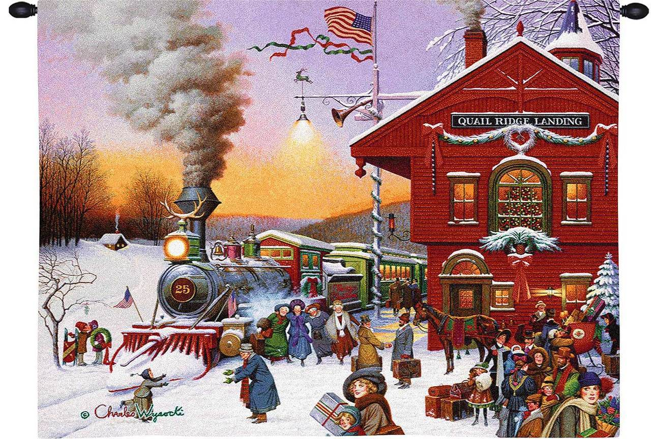 Whistle Stop Christmas by Charles Wysocki - Christmas Tapestry