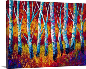 Chill in the Air Birches by Marion Rose Painting Print on Canvas
