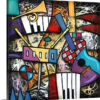 Checkered guitar jam by Eric Waugh Painting Print on Canvas