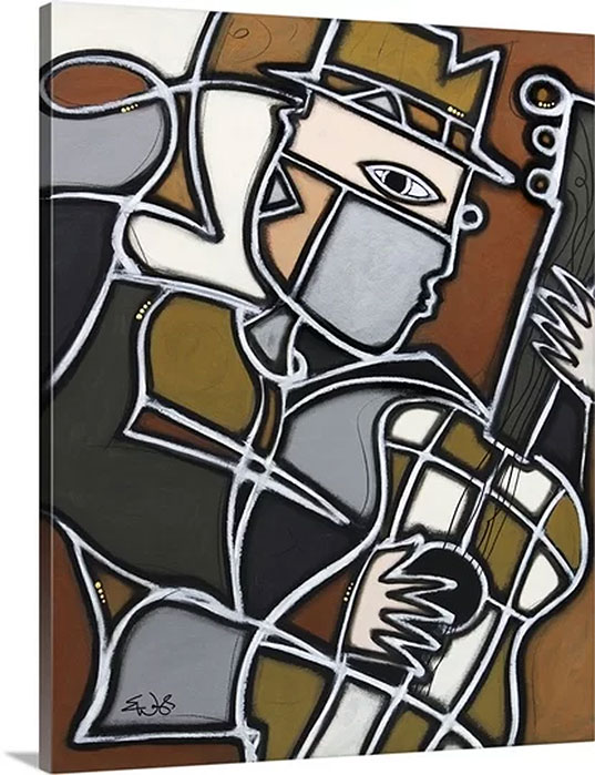 Funky Guitar by Eric Waugh Art Print on Canvas