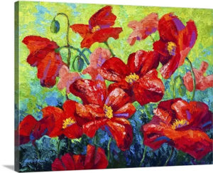 Red Field Poppies by Marion Rose Art Print on Canvas