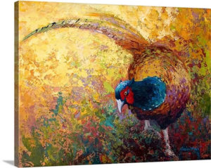Foraging Pheasant by Marion Rose Art Print on Canvas